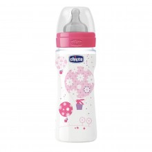Chicco - Biberão Well-Being 330ml Rosa +4M